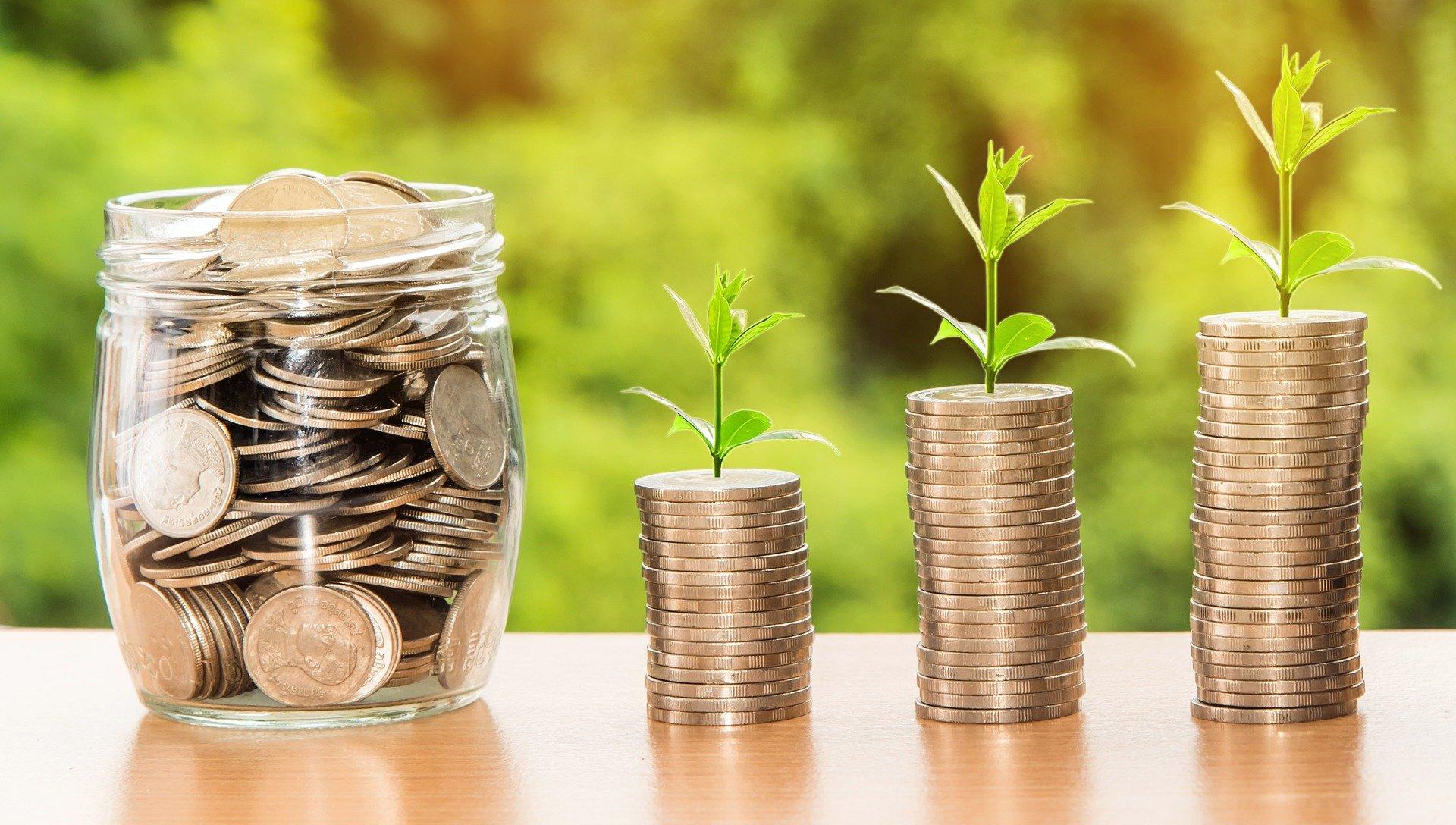 un barattolo trasparente pieno di monete e 3 pile di monete da cui fioriscono piccole piantine verdi