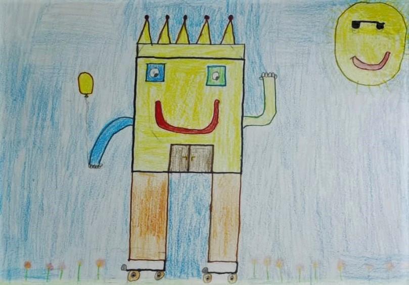 disegno fatto da un bambino di una casa sorridente tutta gialla e di un sole sorridente