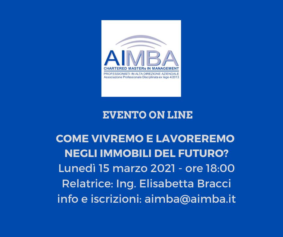 immagine blu con logo AIMBA che descrive l'evento del 15 marzo